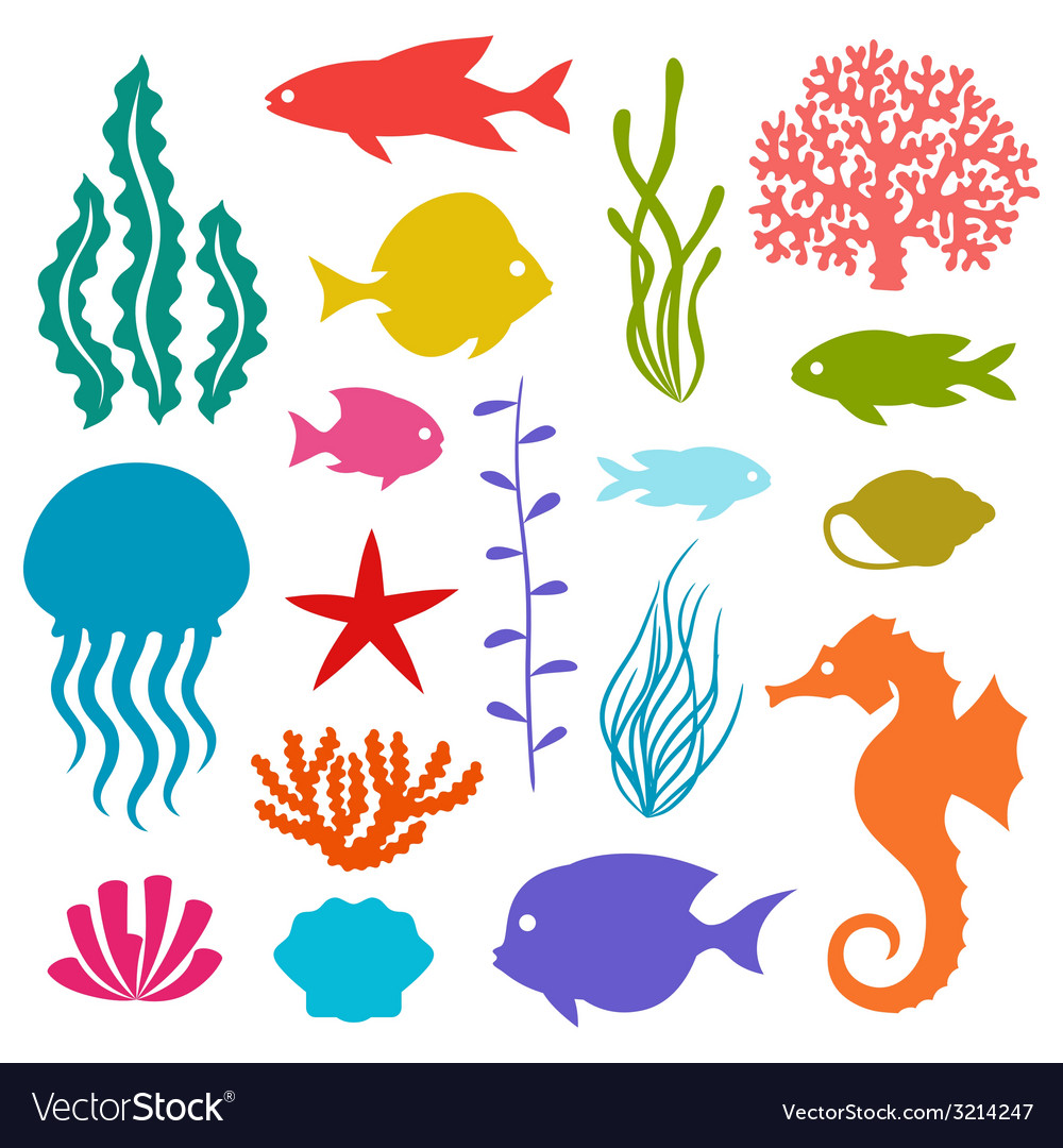 Marine life set of icons objects and sea animals vector | Price: 1 Credit (USD $1)