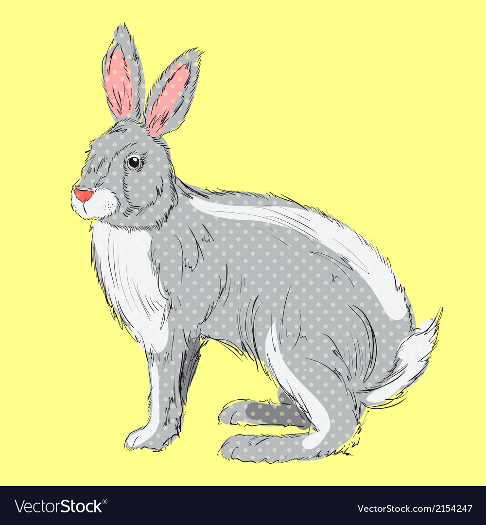 Retro style hand drawn rabbit vector | Price: 1 Credit (USD $1)