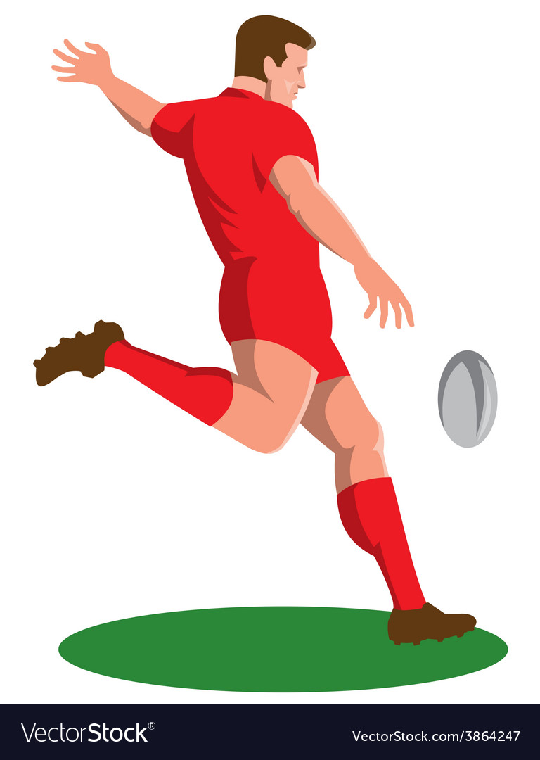 Rugby player kicking ball retro vector | Price: 1 Credit (USD $1)