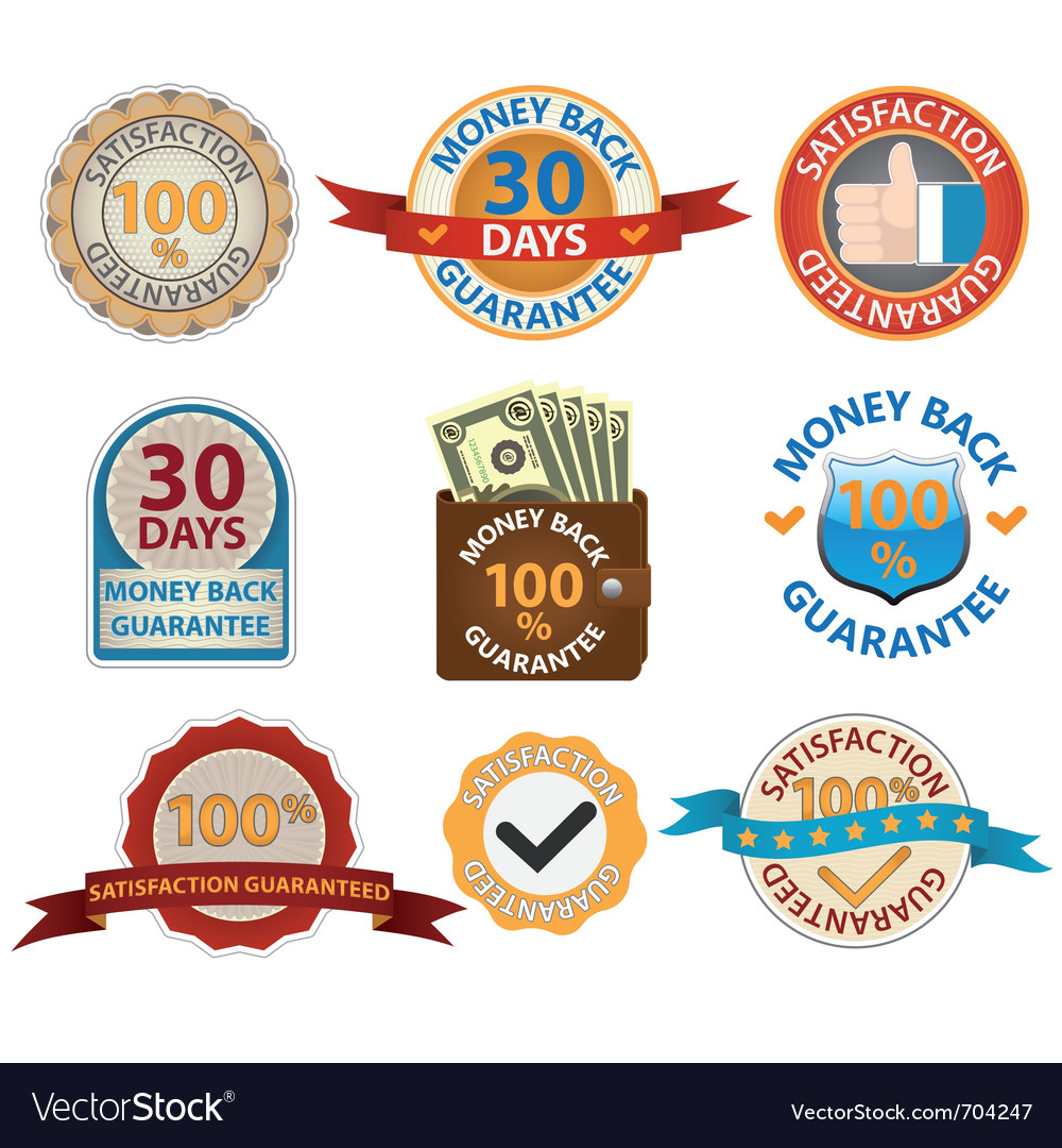 Satisfaction guarantee labels vector | Price: 1 Credit (USD $1)