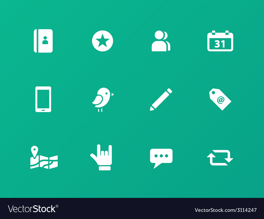 Social icons on green background vector | Price: 1 Credit (USD $1)