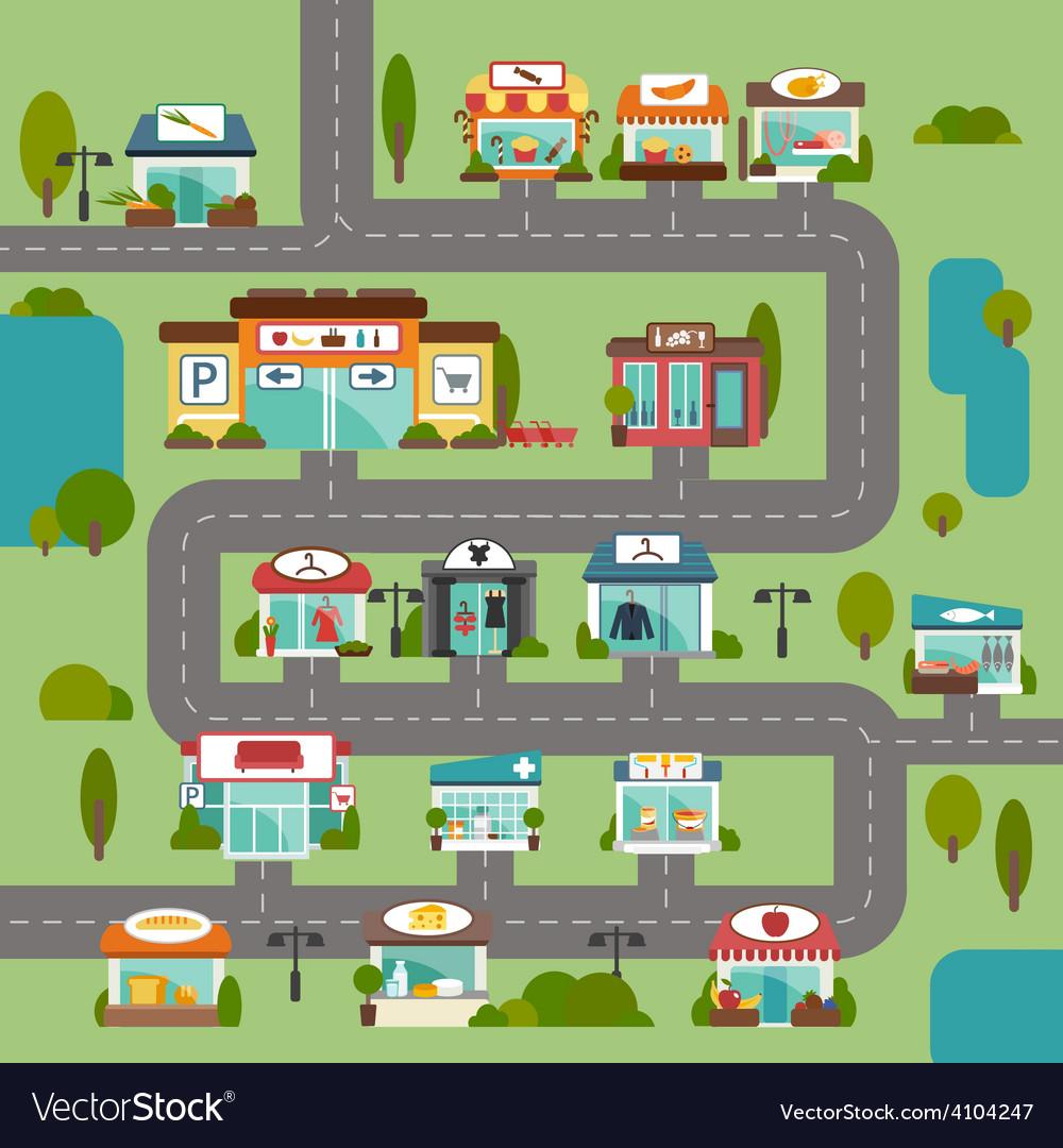 Store building road vector | Price: 1 Credit (USD $1)