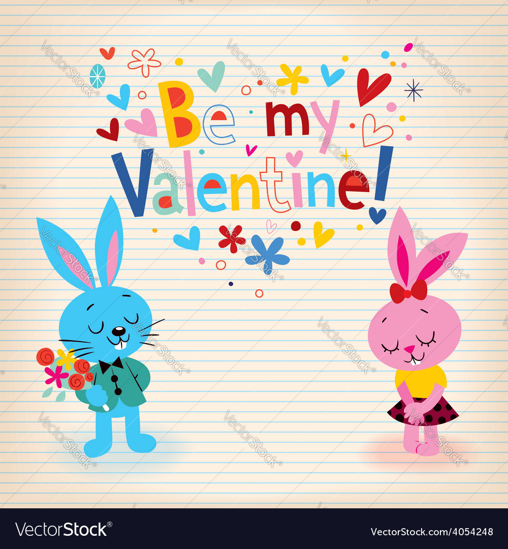 Bunnies in love valentines day card vector | Price: 1 Credit (USD $1)