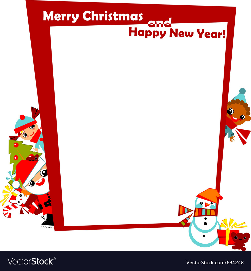 Christmas frame with kids vector   Price: 1 Credit (USD $1)
