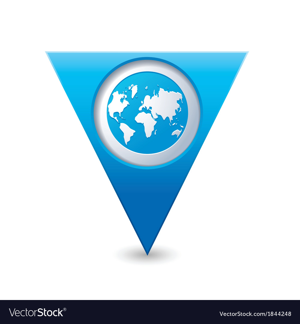 Earth icon on map pointer blue vector | Price: 1 Credit (USD $1)