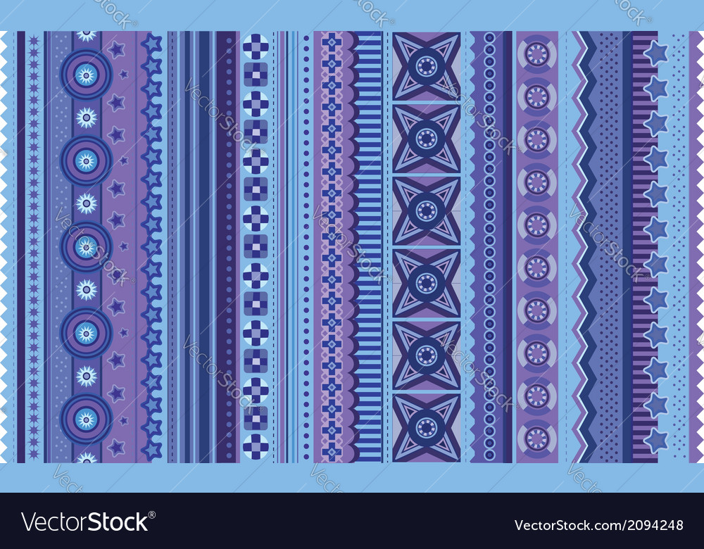 Ethnic various strips motifs in violet colors vector | Price: 1 Credit (USD $1)