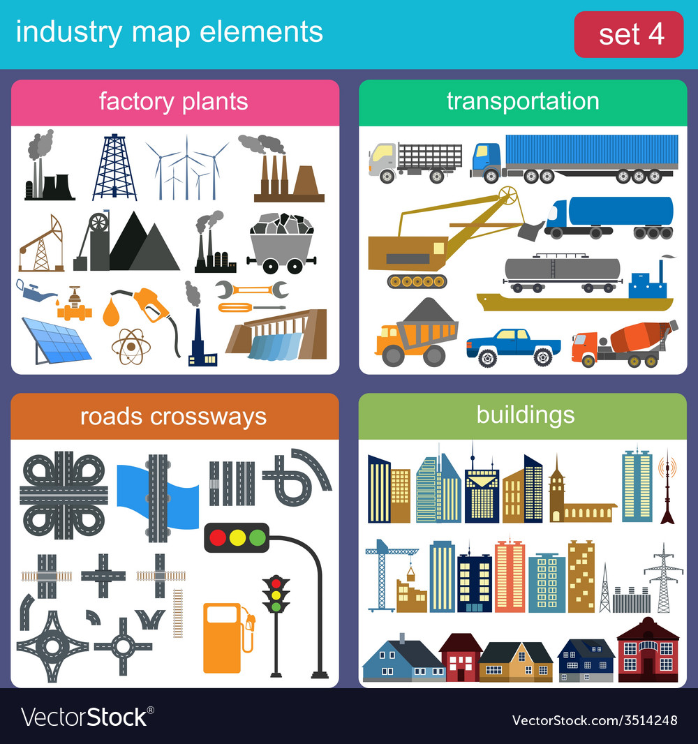 Industry map elements vector | Price: 1 Credit (USD $1)