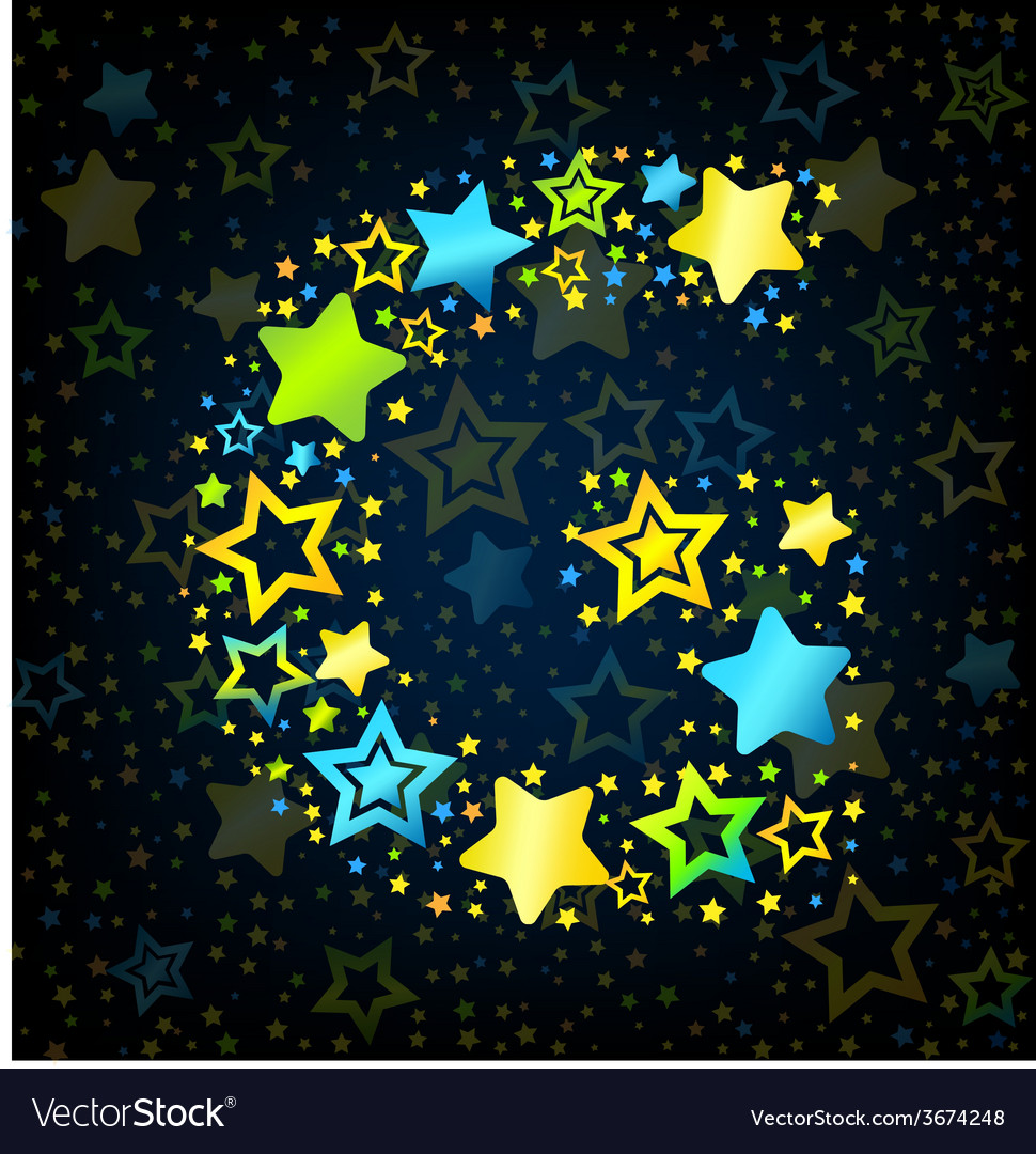 Letter g cartoon star colored vector | Price: 1 Credit (USD $1)