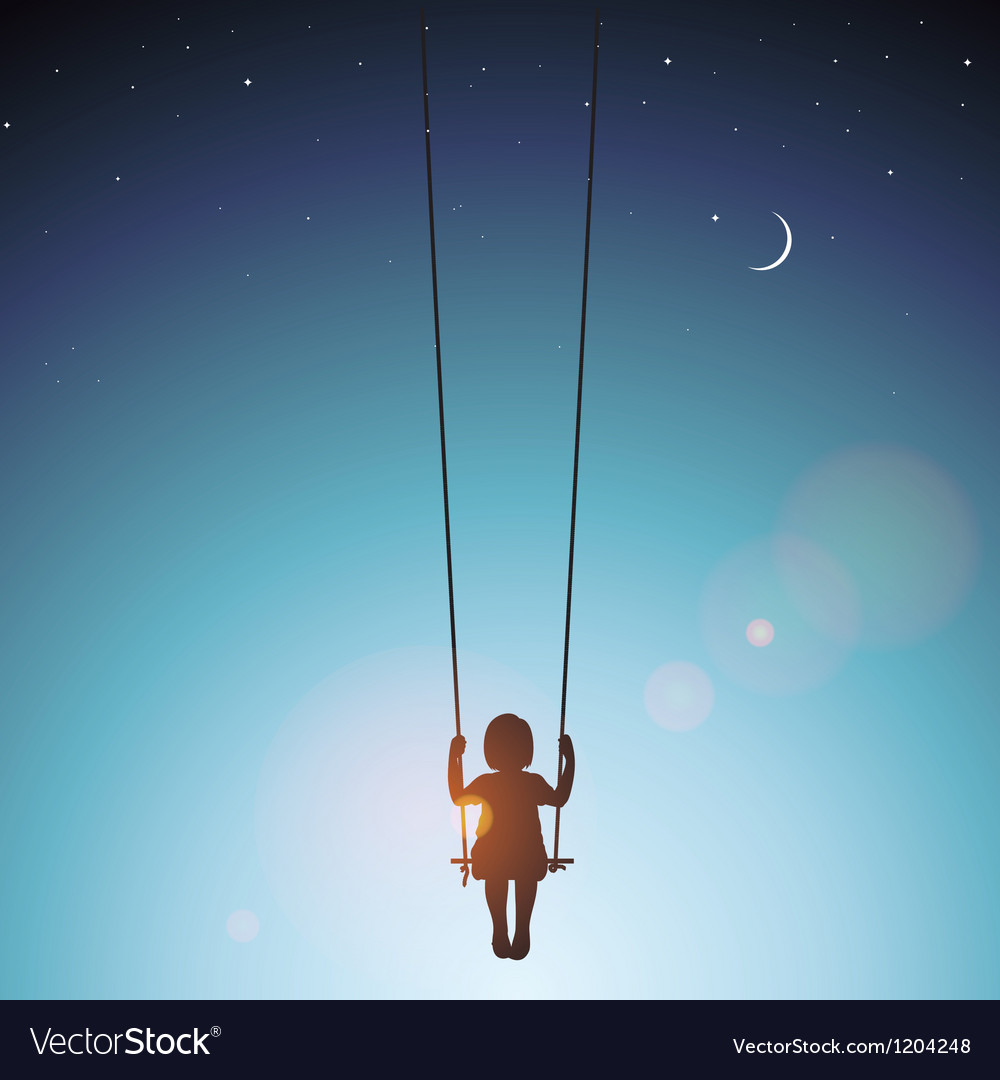 Little girl on a swing vector | Price: 1 Credit (USD $1)