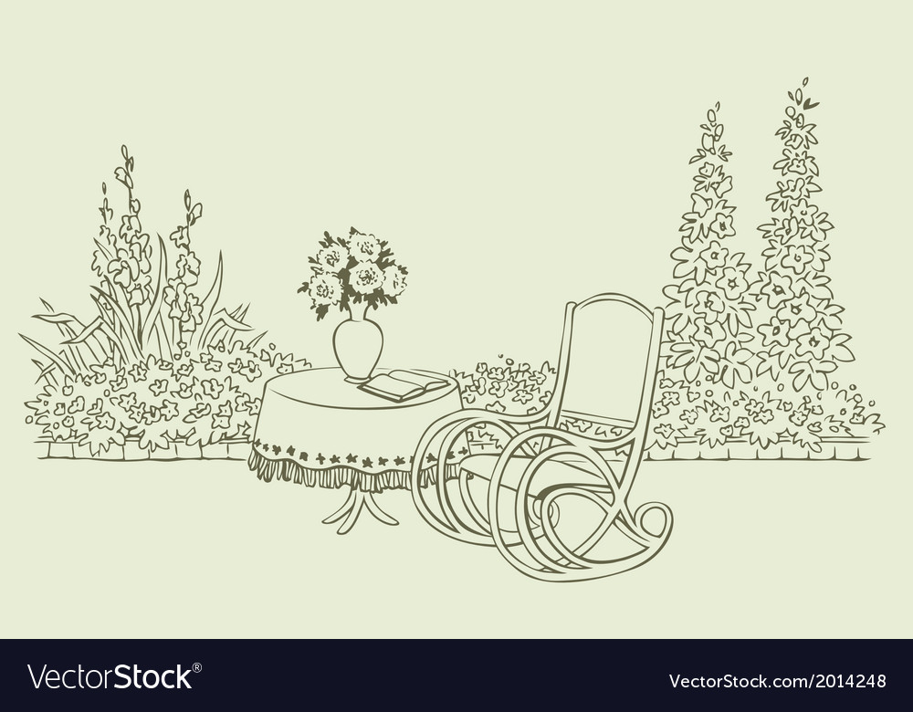 Rocking chair in garden vector | Price: 1 Credit (USD $1)