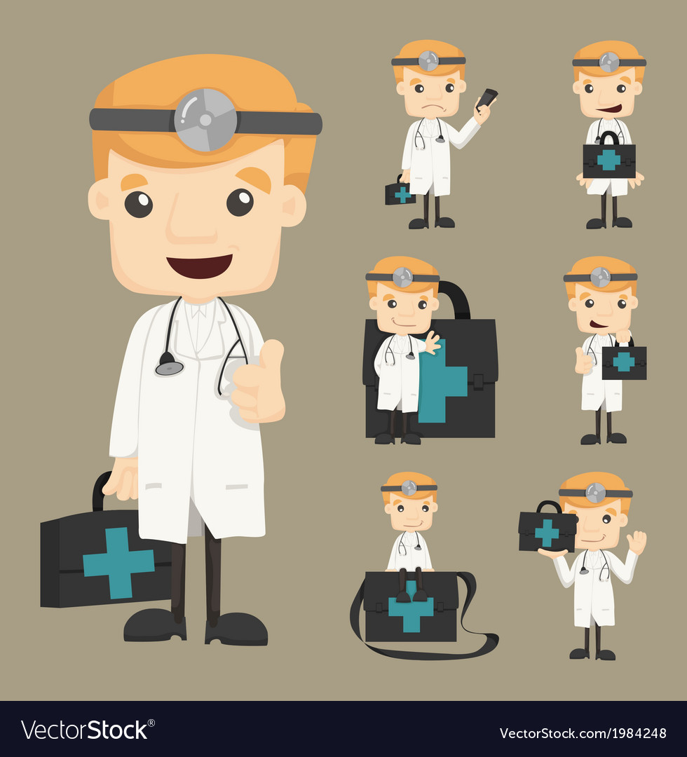 Set of doctor characters poses vector | Price: 1 Credit (USD $1)