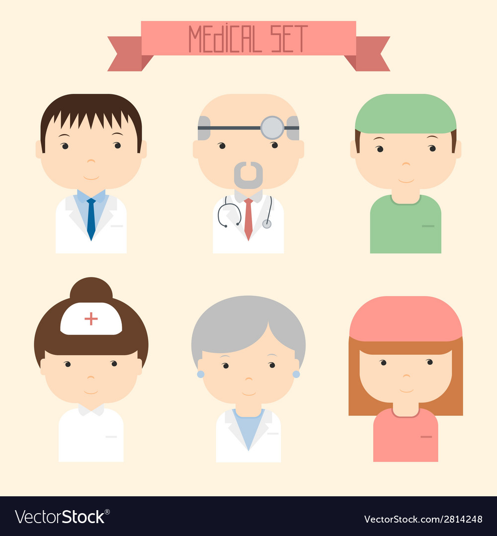 Set of flat colorful doctor icons medical people vector | Price: 1 Credit (USD $1)