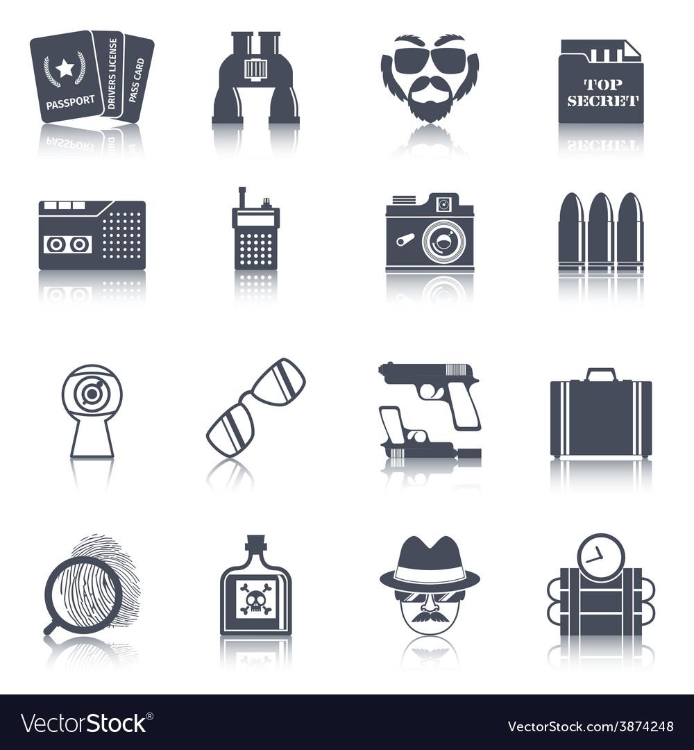 Spy gadgets black icons set vector | Price: 1 Credit (USD $1)