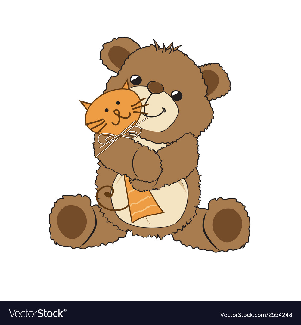 Teddy bear playing with his toy a cat vector | Price: 1 Credit (USD $1)