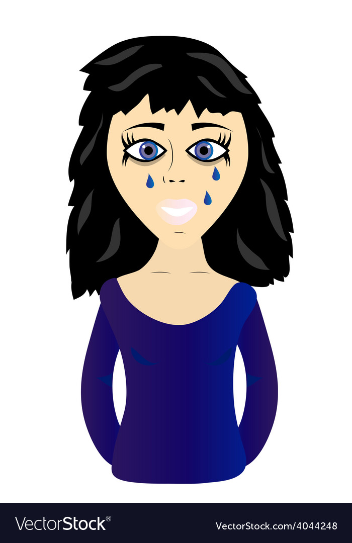Young sad girl vector | Price: 1 Credit (USD $1)