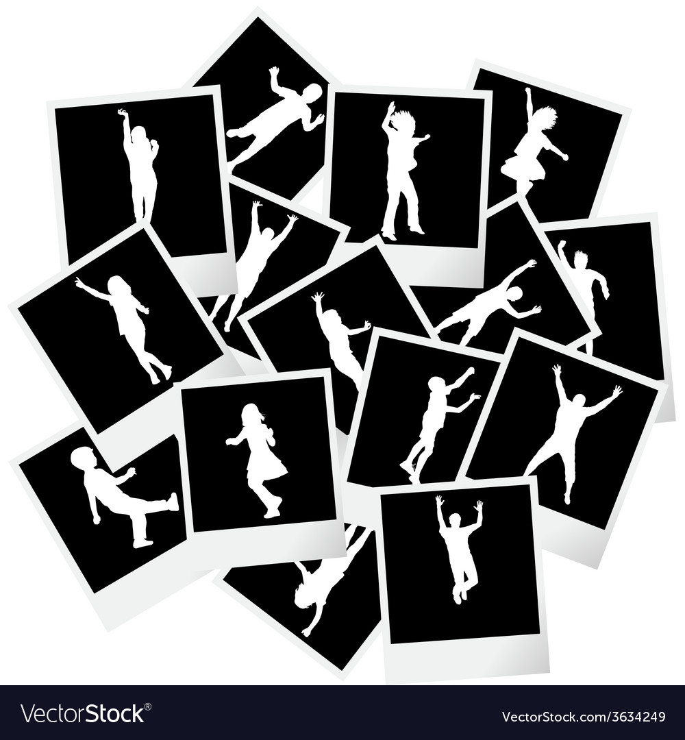 A pile of photo frames with children silhouettes vector | Price: 1 Credit (USD $1)