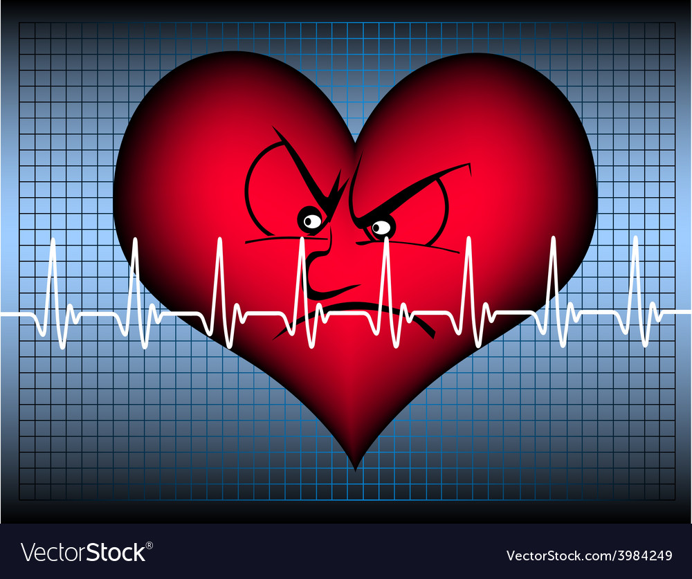 Angry looking heart with cardio line vector | Price: 1 Credit (USD $1)