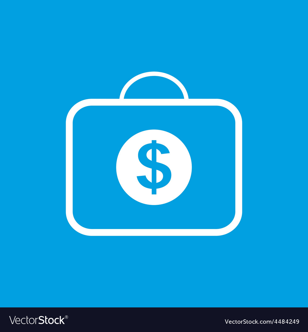 Bag with dollars white icon vector   Price: 1 Credit (USD $1)