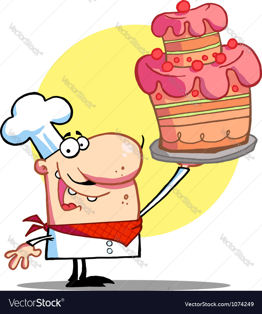 Bakery chef holding up a beautifully cake vector | Price: 1 Credit (USD $1)