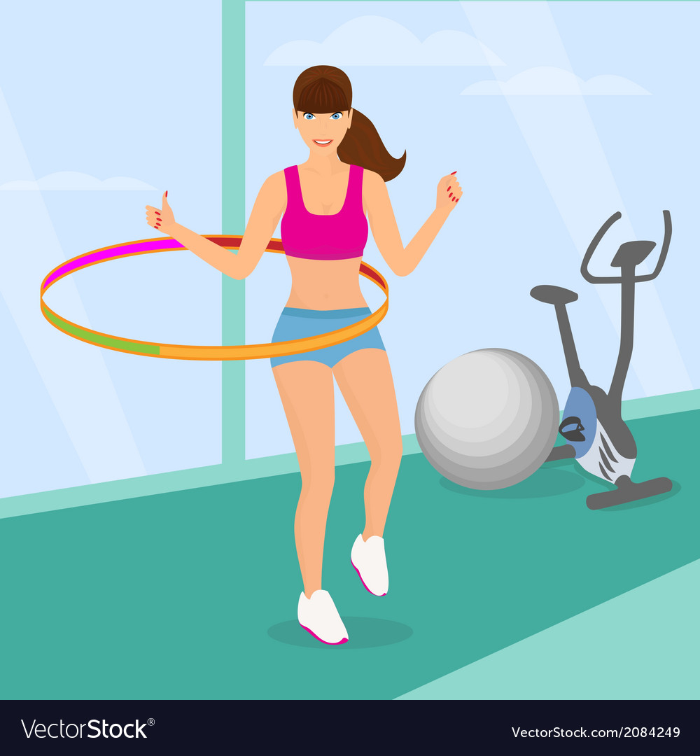 Beautiful woman exercising with hula hoop in the vector | Price: 1 Credit (USD $1)