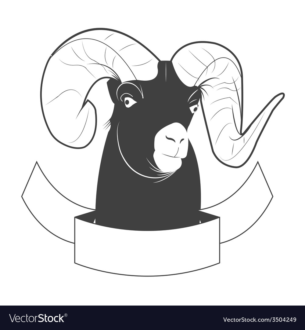 Black and white label goat vector | Price: 1 Credit (USD $1)