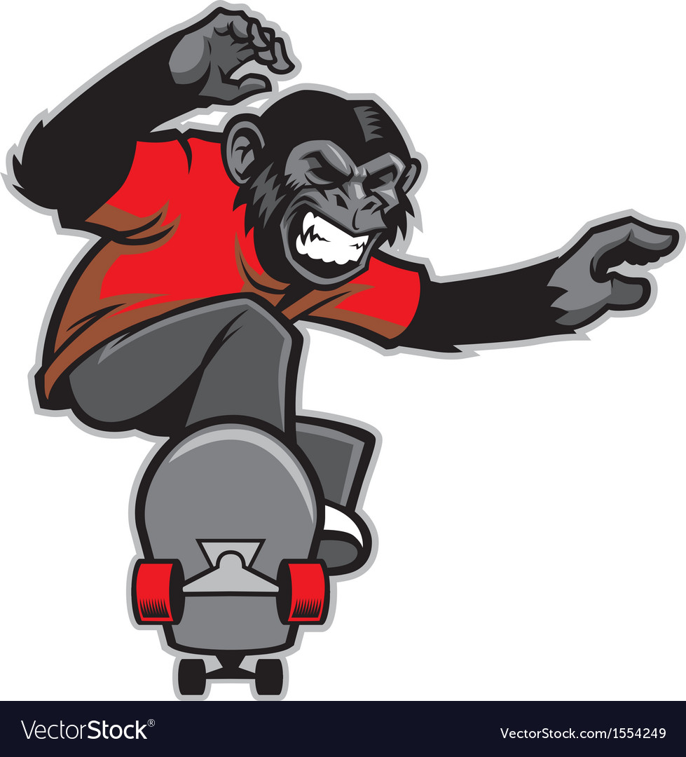 Chimpanzee ride skateboard vector | Price: 3 Credit (USD $3)