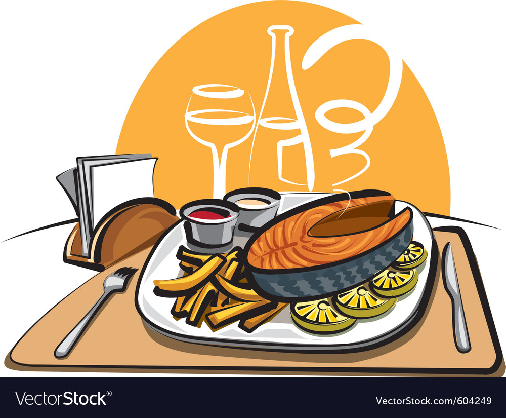 Fried salmon and chips vector   Price: 3 Credit (USD $3)