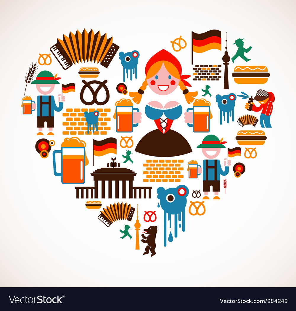 Heart shape with germany icons vector | Price: 3 Credit (USD $3)