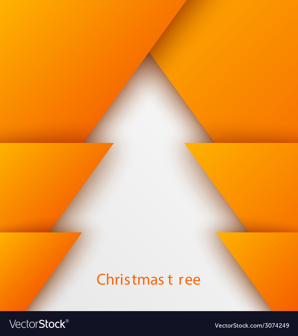 Orange abstract christmas tree paper applique vector | Price: 1 Credit (USD $1)