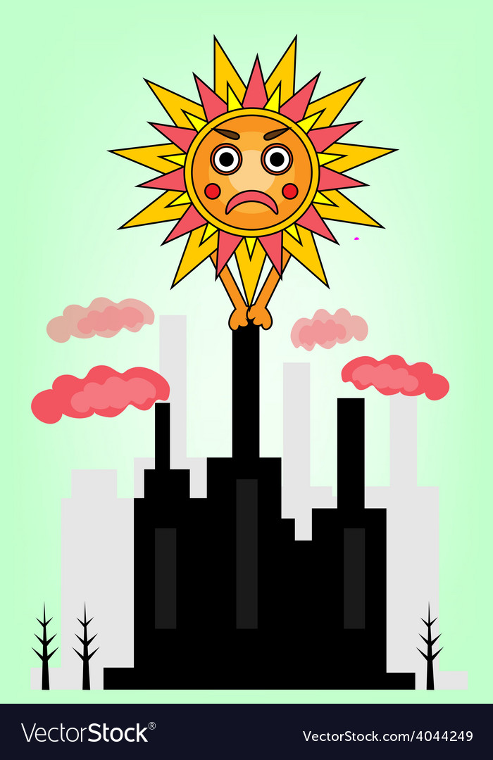 Picture of sun and factory vector | Price: 1 Credit (USD $1)
