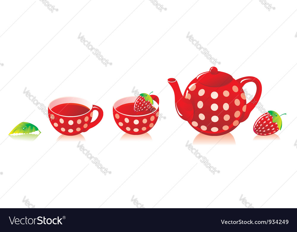 Red tea service with a strawberry vector | Price: 1 Credit (USD $1)