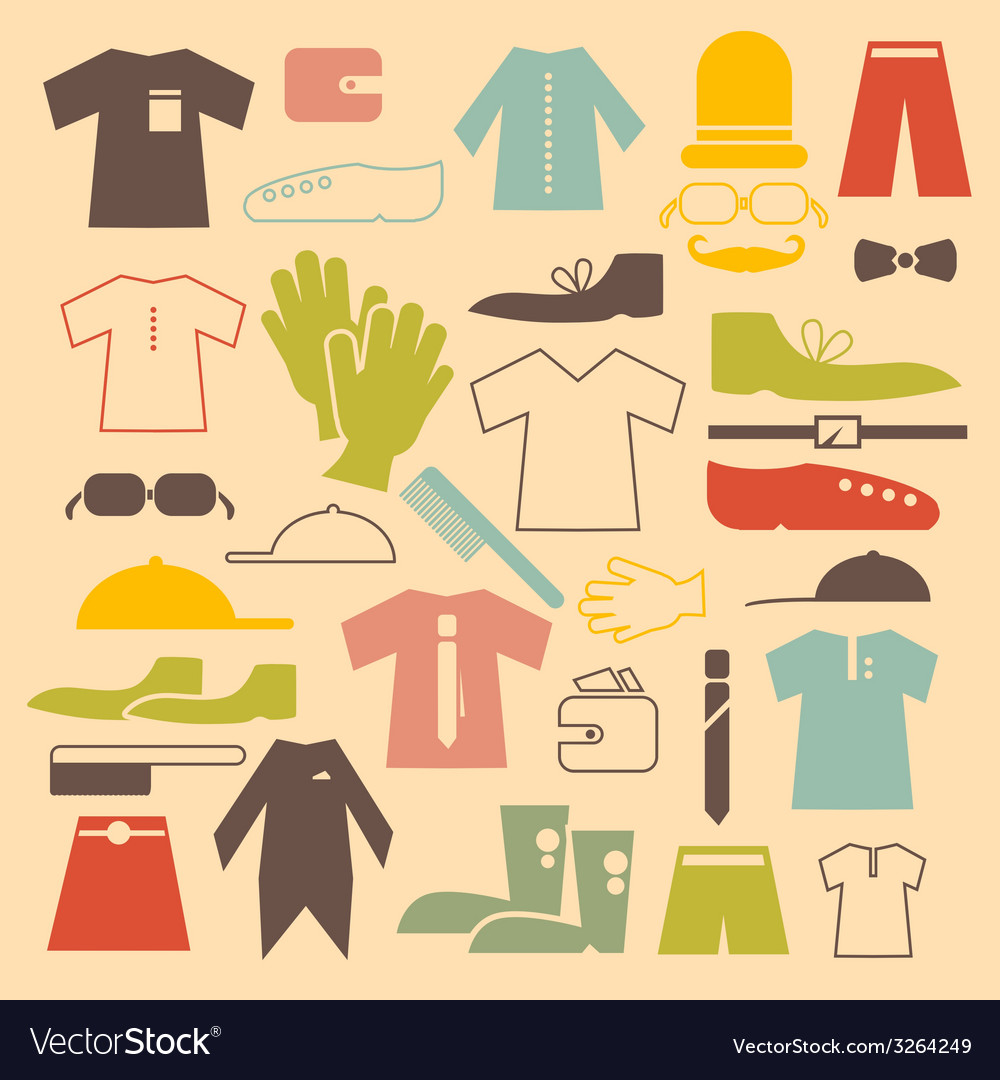 Retro clothing flat design icons set vector | Price: 1 Credit (USD $1)