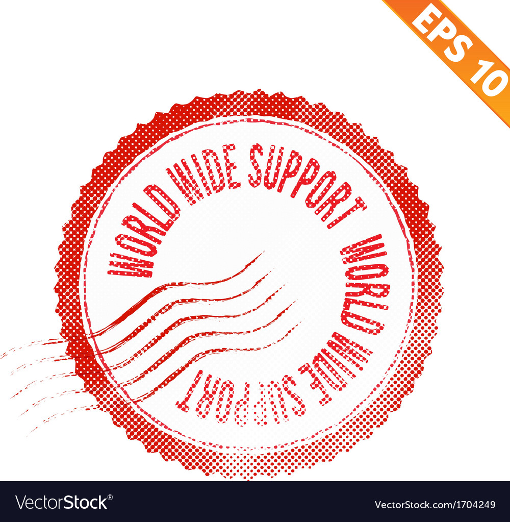Rubber stamp world wide support - - eps10 vector | Price: 1 Credit (USD $1)