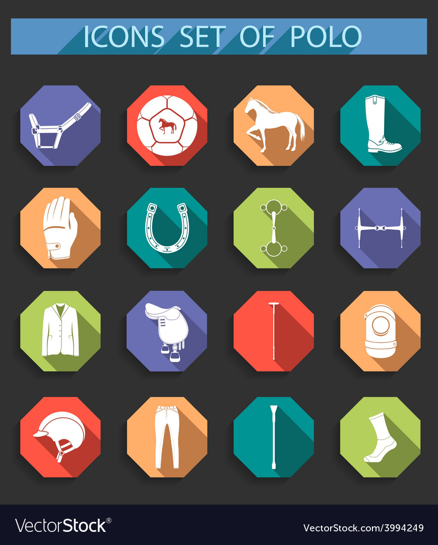 Set of icons polo in flat style vector | Price: 1 Credit (USD $1)