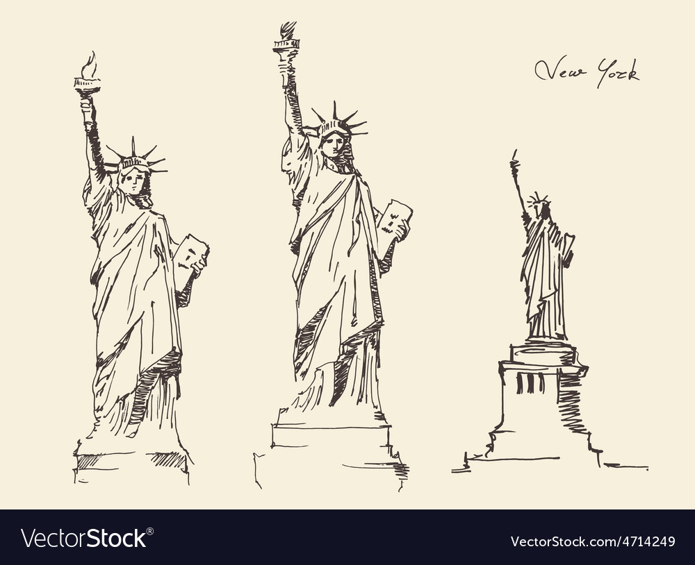 Statue of liberty hand drawn vintage engraved vector | Price: 1 Credit (USD $1)