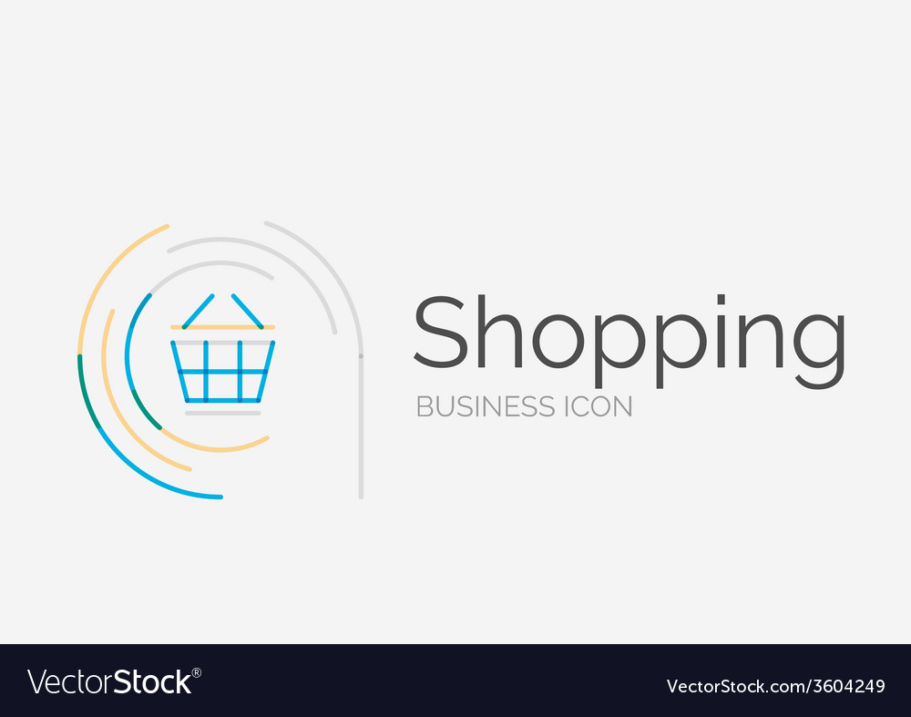 Thin line neat design logo shopping cart icon vector | Price: 1 Credit (USD $1)