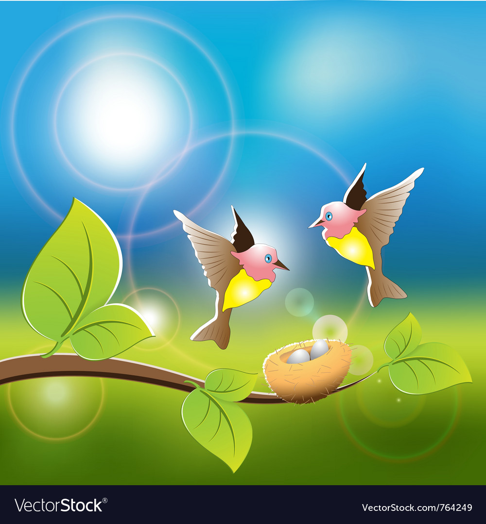 Two birds fly on its nest vector | Price: 3 Credit (USD $3)