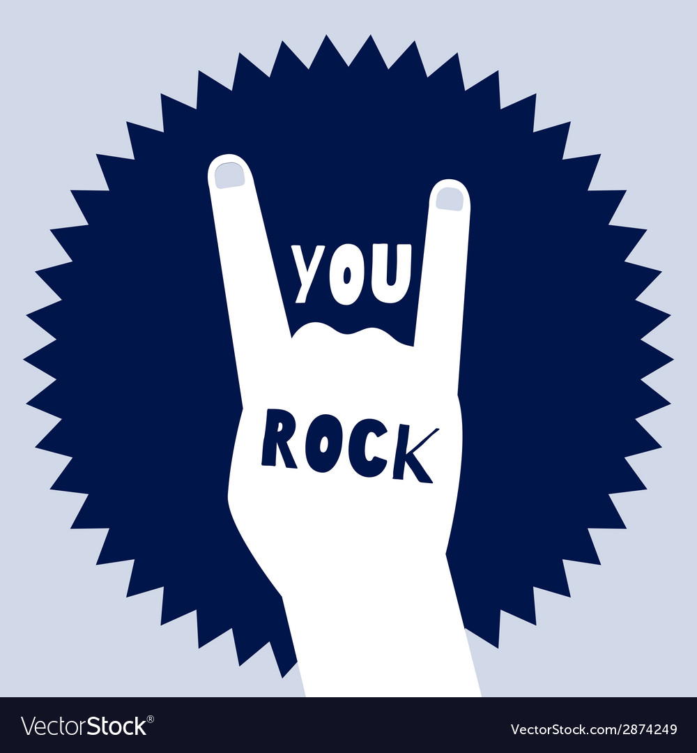 You rock poster template devils horns sign vector | Price: 1 Credit (USD $1)