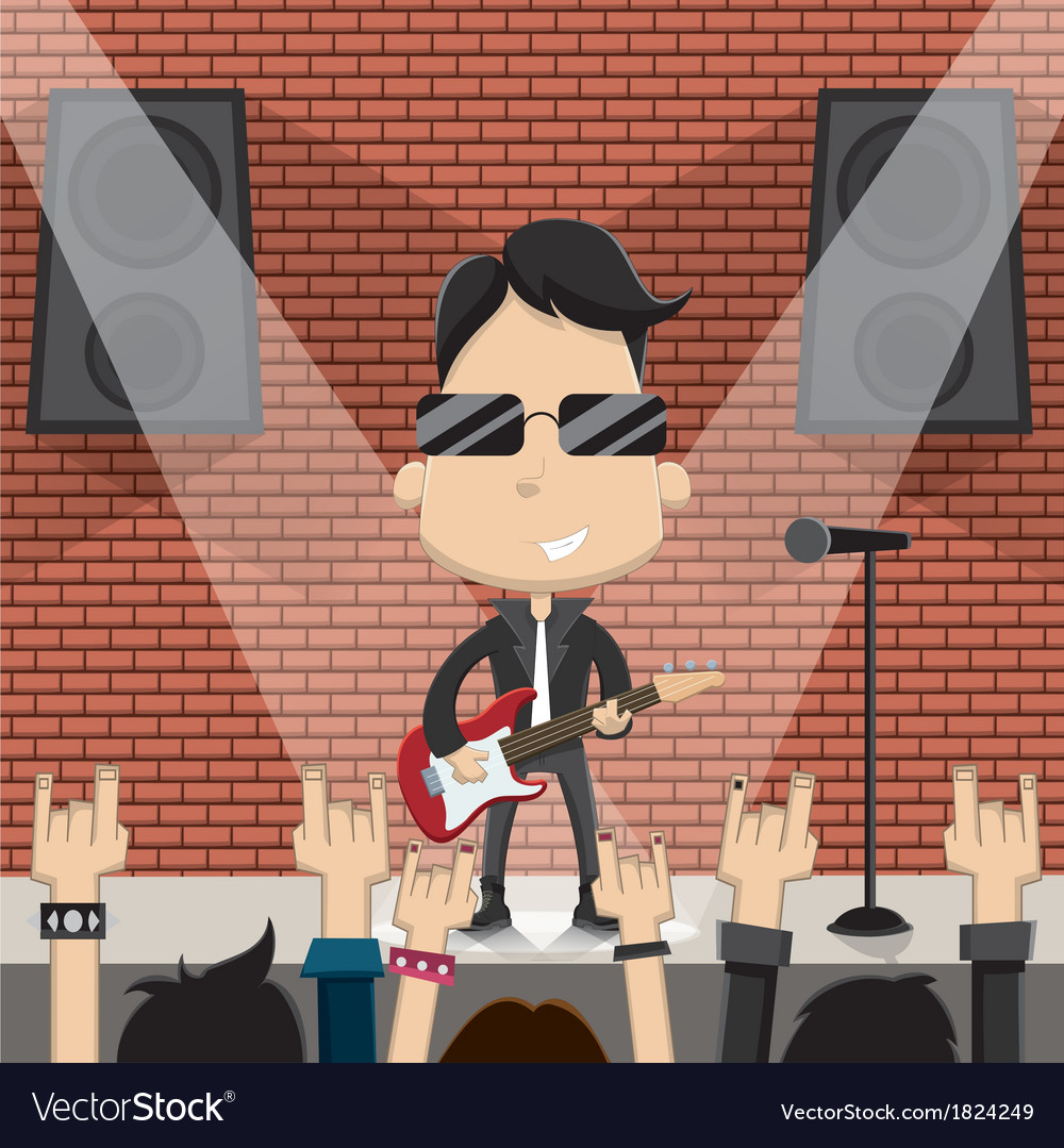 Young guy playing guitar on stage vector | Price: 1 Credit (USD $1)