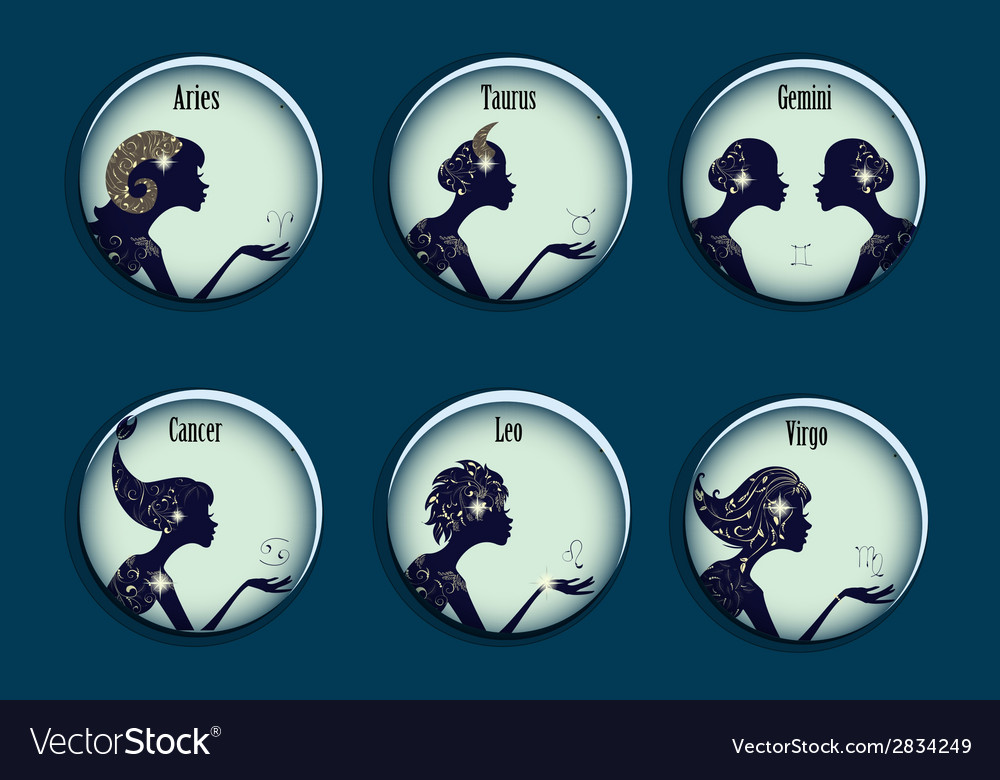 Zodiac signs in a circle frames set vector | Price: 1 Credit (USD $1)