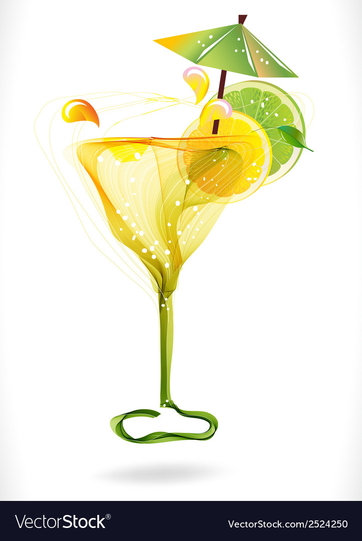 Abstract colorful cocktail with fruit over white vector | Price: 1 Credit (USD $1)