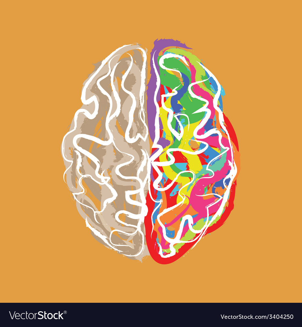 Creative brain with color strokes vector | Price: 1 Credit (USD $1)