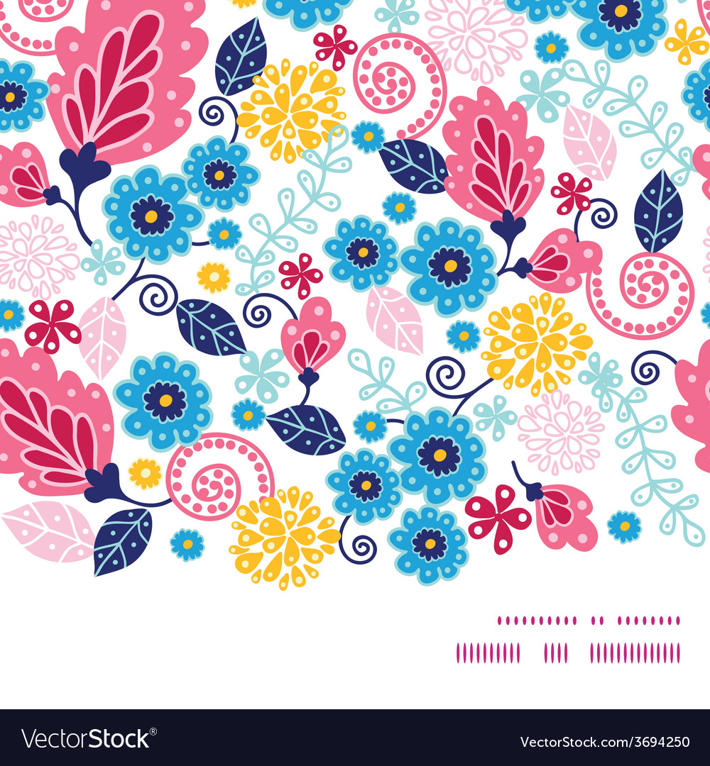 Fairytale flowers horizontal frame seamless vector | Price: 1 Credit (USD $1)