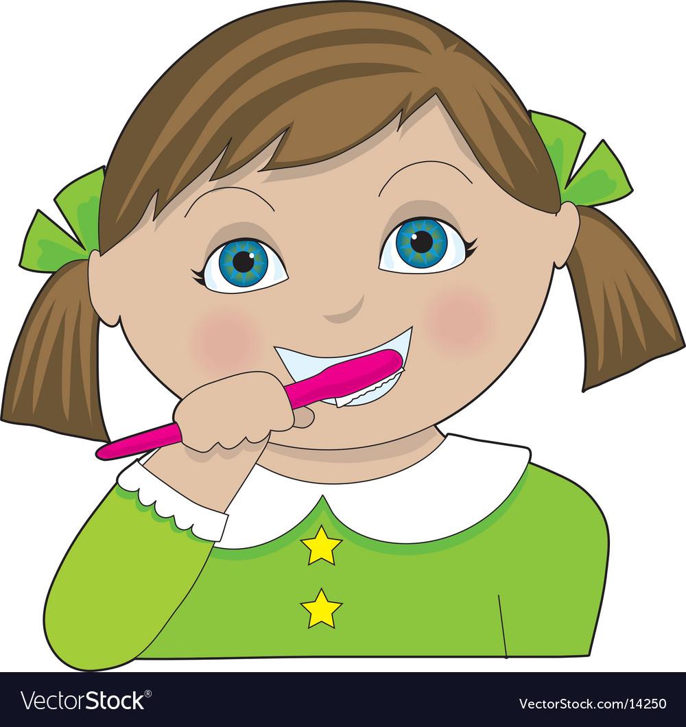 Girl brushing teeth vector | Price: 1 Credit (USD $1)