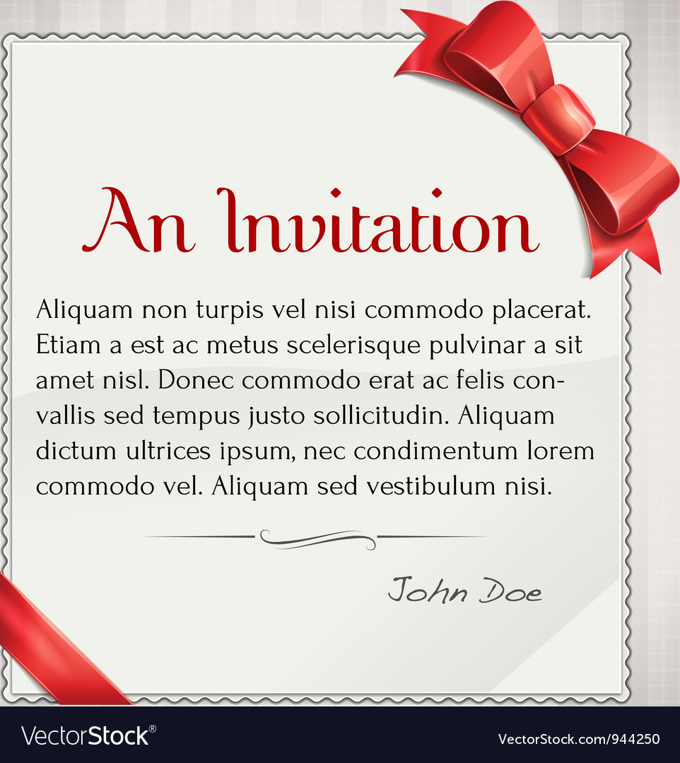 Invitaion with red bow and ribbon vector | Price: 3 Credit (USD $3)