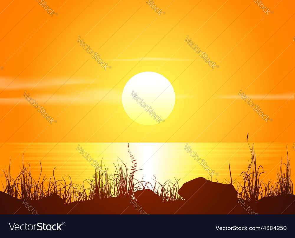 Landscape with sunset at the seashore vector