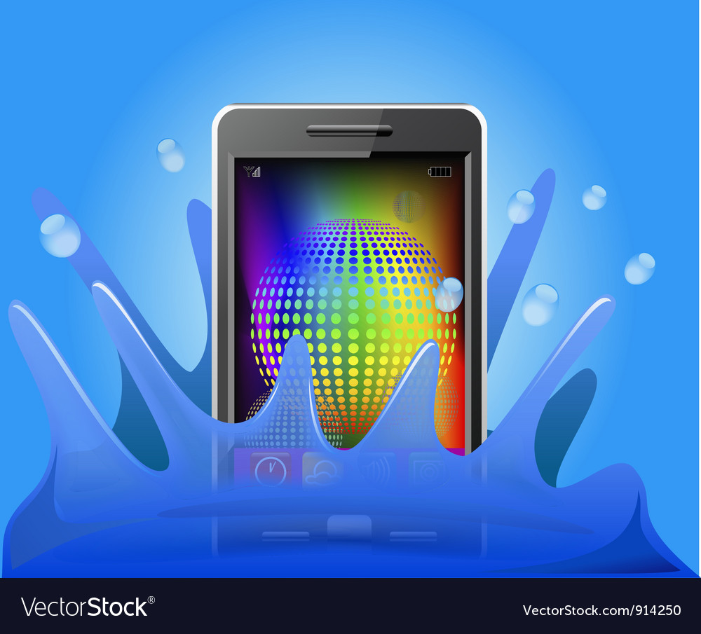 Phone in the water vector