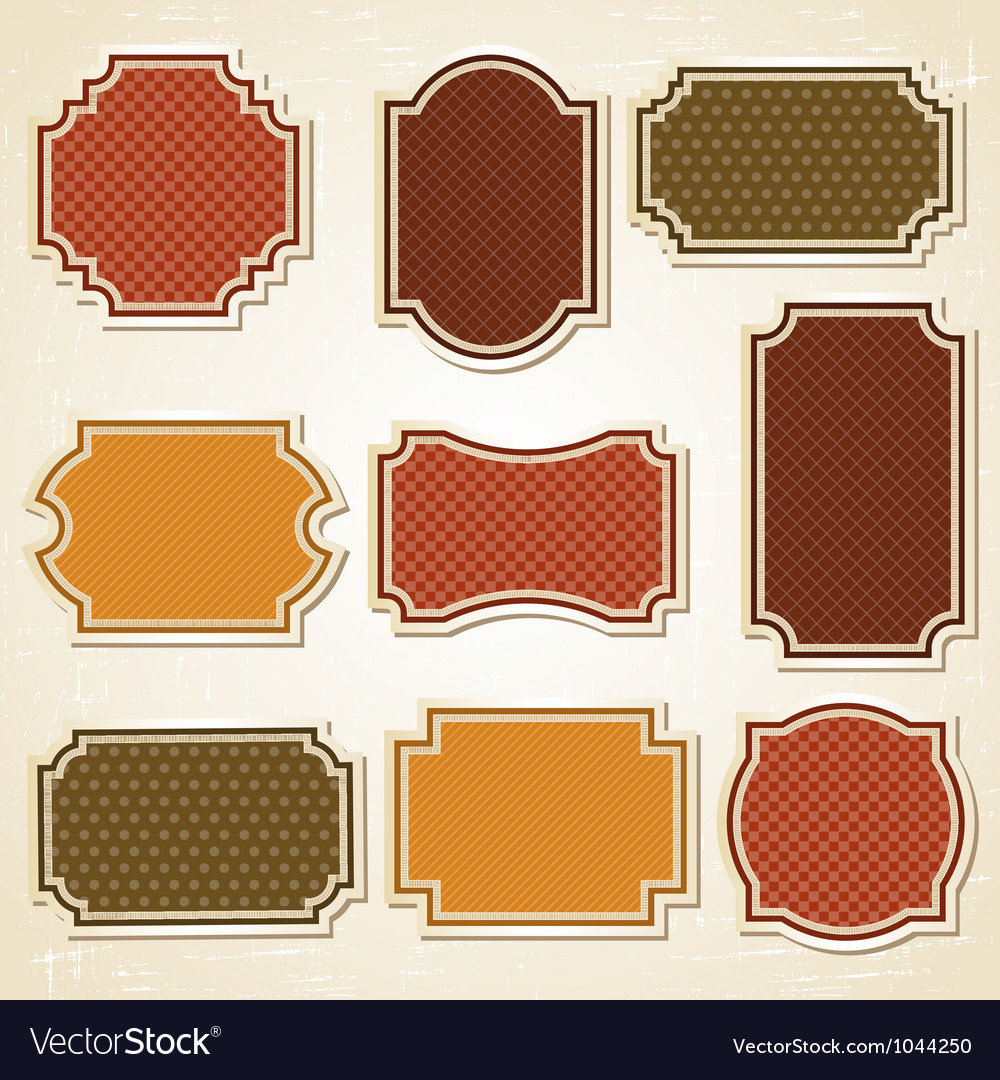Retro labels stickers set vector | Price: 1 Credit (USD $1)
