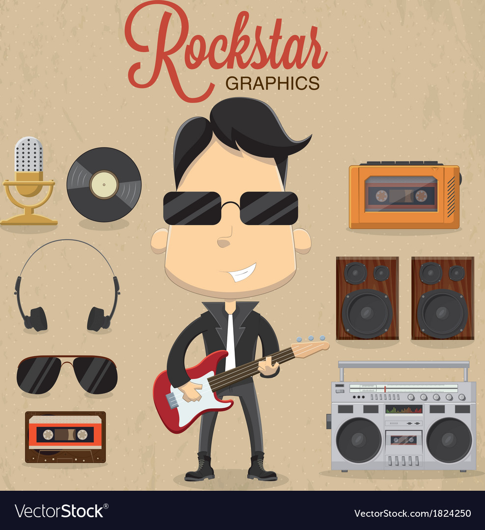 Rock star guy character design icon and vector | Price: 1 Credit (USD $1)