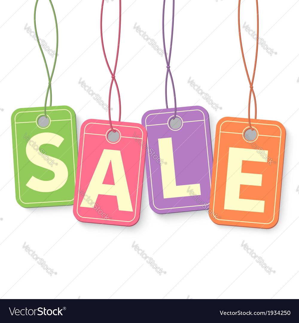 Sale tag on hanging multicolor labels isolated on vector | Price: 1 Credit (USD $1)